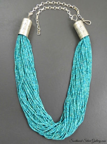 Fifty Strand Fine Turquoise Bead Necklace by Anita Begay