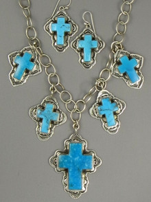 Sterling Silver Turquoise Cross Charm Necklace & Earring Set by Elgin Tom