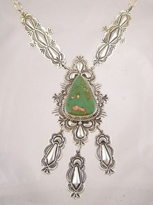 Natural Green King Manassa Turquoise Necklace
