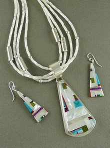 Mother of Pearl Inlay Necklace & Earring Set - Daniel Coriz, Santo Domingo