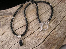 Sterling Silver Onyx Bead Necklace with Toggle (NK680)