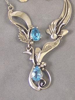 Dainty Blue Topaz Silver Necklace & Earring Set