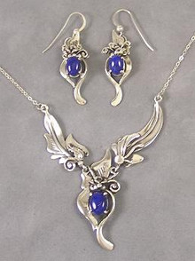 Sterling Silver Lapis Earring & Necklace Set