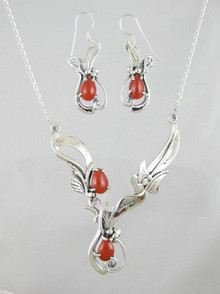 Sterling Silver Mediterranean Coral Necklace & Earring Set (NK733)