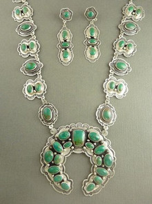 High-Grade Carico Lake Turquoise Squash Blossom Necklace Set - Aaron Toadlena