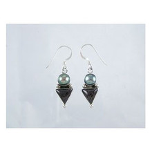 Sterling Silver Onyx & Grey Pearl Earrings
