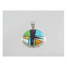 Silver Multi Gemstone Inlay Pendant