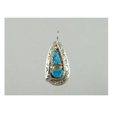 Effie Calavaza Sterling Silver Turquoise Pendant (PD0067)