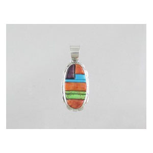Multi Gemstone Sculpted Inlay Pendant (PD0072)
