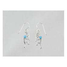 Sterling Silver Turquoise Kokopelli Pendant & Earring Set