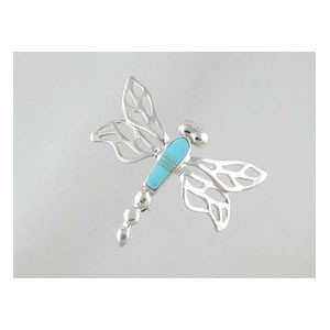 Sleeping Beauty Turquoise Inlay Dragonfly Pin (PD0123)