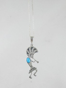 Sterling Silver Turquoise Kokopelli Pendant