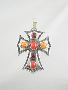 Multi Spiny Oyster Shell Gemstone Cross by Derrick Gordon