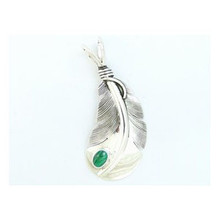 Sterling Silver Malachite Feather Pendant by Lena Platero, Native American Jewelry