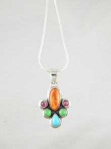 Native American Silver Multi Gemstone Pendant by Geneva Apachito, Navajo
