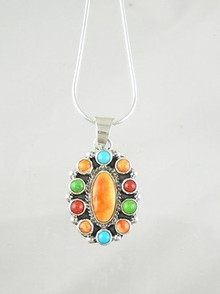 Spiny Oyster Shell & Gemstone Pendant by Geneva Apachito