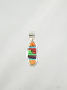 Native American Silver Multi Gemstone Sculpted Inlay Pendant