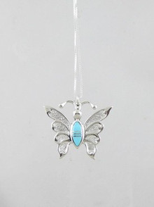 Sleeping Beauty Turquoise Inlay Butterfly Pendant