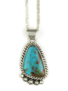 Sterling Silver King Manassa Turquoise Pendant (PD0722)