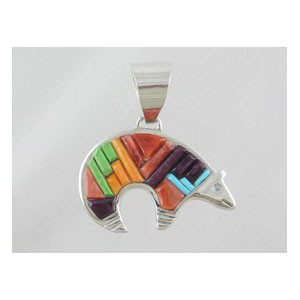 Native American Multi Gemstone Sculpted Inlay Bear Pendant - Reversible