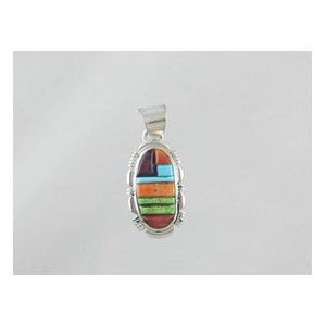 Multi Gemstone Sculpted Inlay Pendant (PD0886)