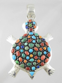 Large Sterling Silver Multi Gemstone Turtle Pendant by Ray Bennett, Navajo