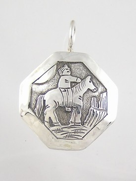 Becenti Reversible Sterling Silver Indian & Horse Pendant