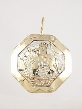 Becenti Reversible Gold & Silver Indian & Horse Pendant