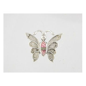 Sterling Silver Rhodochrosite & Opal Inlay Butterfly Pin