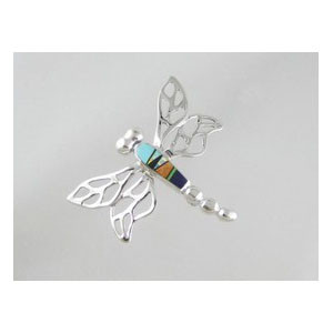 Multi Gemstone Inlay Dragonfly Pin