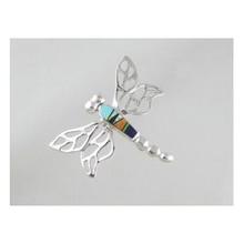 Multi Gemstone Inlay Dragonfly Pin