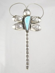 Natural Water Web Number 8 Turquoise Gem Dragonfly Pin - Pendant