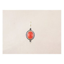 Sterling Silver Gallery Wire Coral Pendant