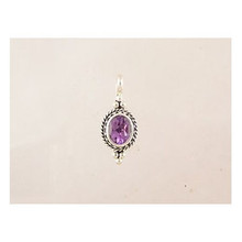 Sterling Silver Gallery Wire Amethyst Pendant