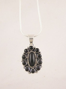 Sterling Silver Onyx Cluster Pendant (PD2170)