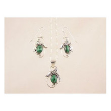 Sterling Silver Malachite Earring & Pendant Set