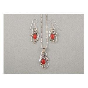 Sterling Silver Mediterranean Coral Earring & Pendant Set