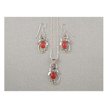 Sterling Silver Mediterranean Coral Earring & Pendant Set