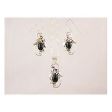 Sterling Silver Onyx Earring & Pendant Set