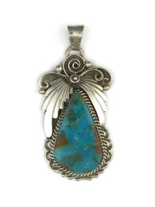 Sterling Silver Kingman Turquoise Pendant by H Boyd, Navajo (PD2184)