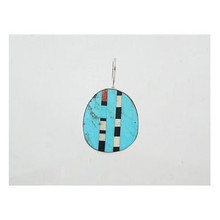 Turquoise & Gemstone Inlay Slab Pendant - Reversible
