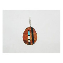 Reversible Sponge Coral & Gemstone Inlay Slab Pendant