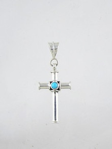 Sterling Silver Turquoise Cross Pendant (PD2439)