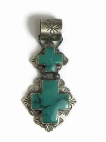 Antiqued Sterling Silver Double Turquoise Cross Pendant