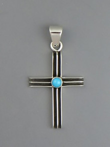Sterling Silver Turquoise Channel Cross Pendant by Francis Jones, Navajo