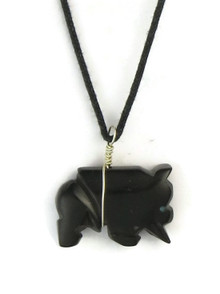 Jet Buffalo Fetish Carving Pendant by Stacy Turpen, Navajo