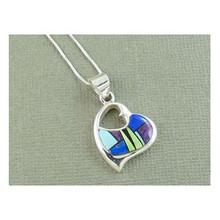 Sterling Silver Multi Gemstone Inlay Heart Pendant