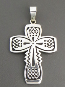 Sterling Silver Overaly Cross Pendant by Steven Begay