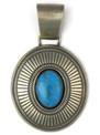 Handmade Natural Kingman Turquoise Pendant by Calvin Martinez, Navajo