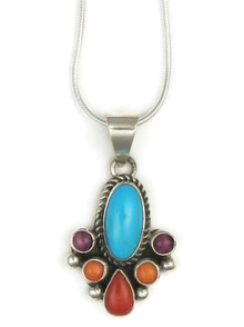Sleeping Beauty Turquoise, Coral & Spiny Oyster Shell Pendant by Kim Yazzie, Navajo
